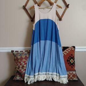 143 Story colorblock fringe dress